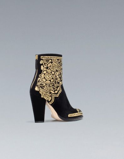GOLD EMBROIDERED HIGH-HEEL ANKLE BOOT - Ankle boots - Shoes - Woman - ZARA United States