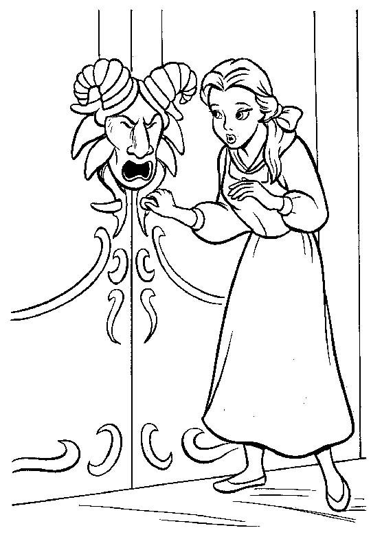 belle want open door coloring pages