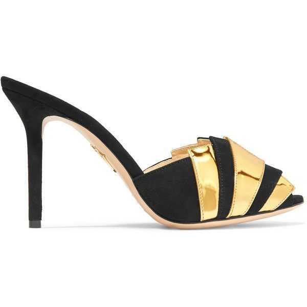 Charlotte Olympia Chrysie metallic patent-leather and suede mules ($720) ❤  liked on