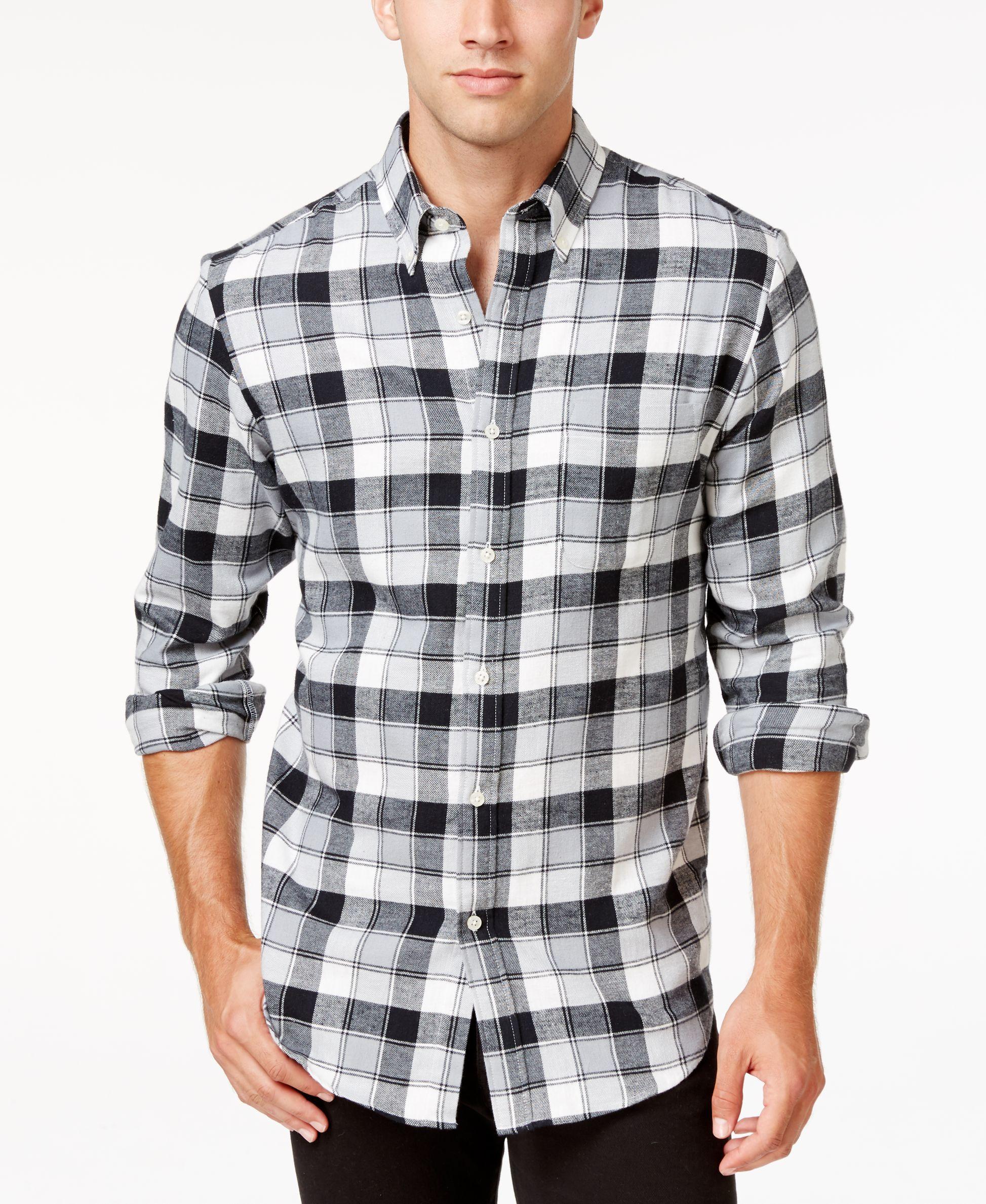 Flannel shirt black and grey  John Ashford Menus Big and Tall LongSleeve Plaid Shirt Only at