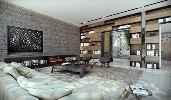 moderne architektur 3d rendering innendesign und interior ...
