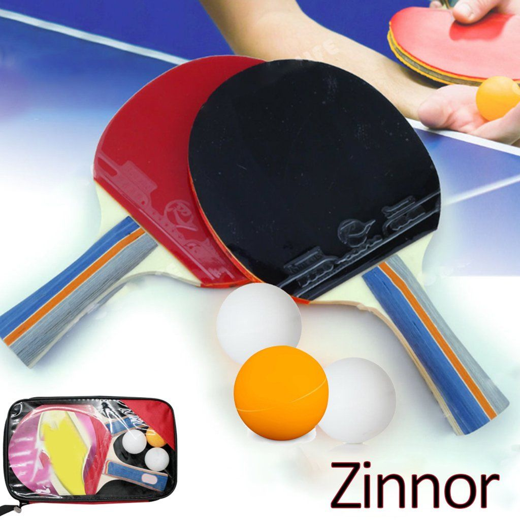 Zinnor Table Tennis Setpack Of 2 Premium Paddles Rackets And 3 Table Tennis Ballsprofessional Handshake Grip Tab Table Tennis Racket Tennis Racket Table Tennis