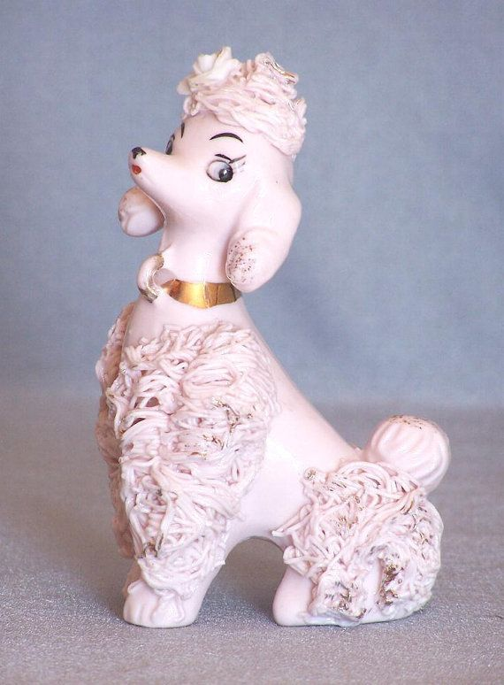Ceramic Pink Spaghetti Poodle Figurine Spaghetti