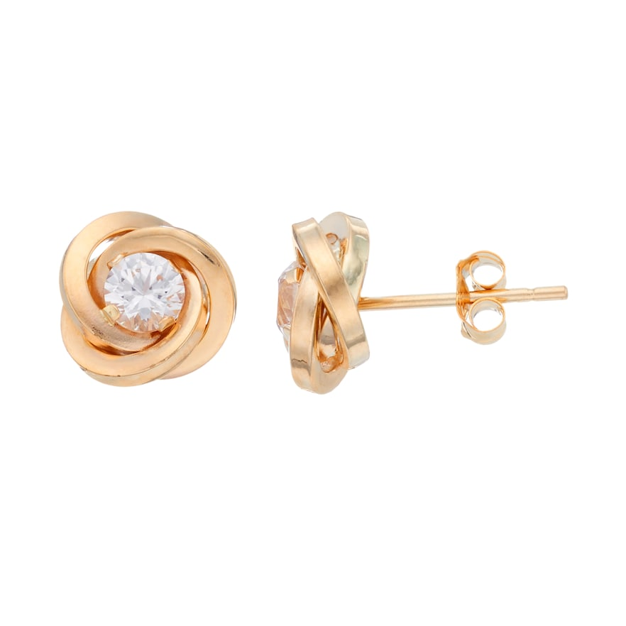 10k Gold Cubic Zirconia Love Knot Stud Earrings In 2020 Stud Earrings Gold N Earrings