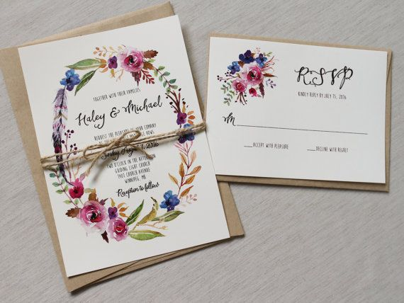 Partecipazioni Matrimonio Hippie.Boho Wedding Invitation With Floral Wreath Rustic Wedding