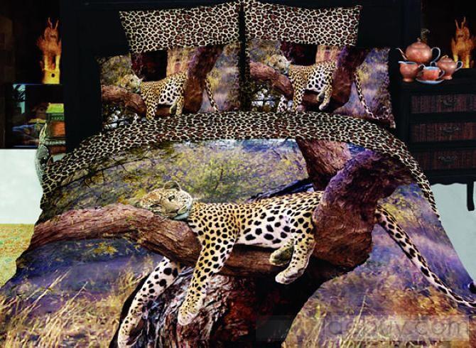 4 piezas para dormir leopardo cama Queen Size completa (Envío Gratuito)