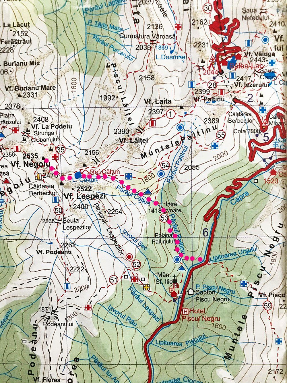 Harta Negoiu Conacul Ursului Lespezi Capra Fagaras Hartă