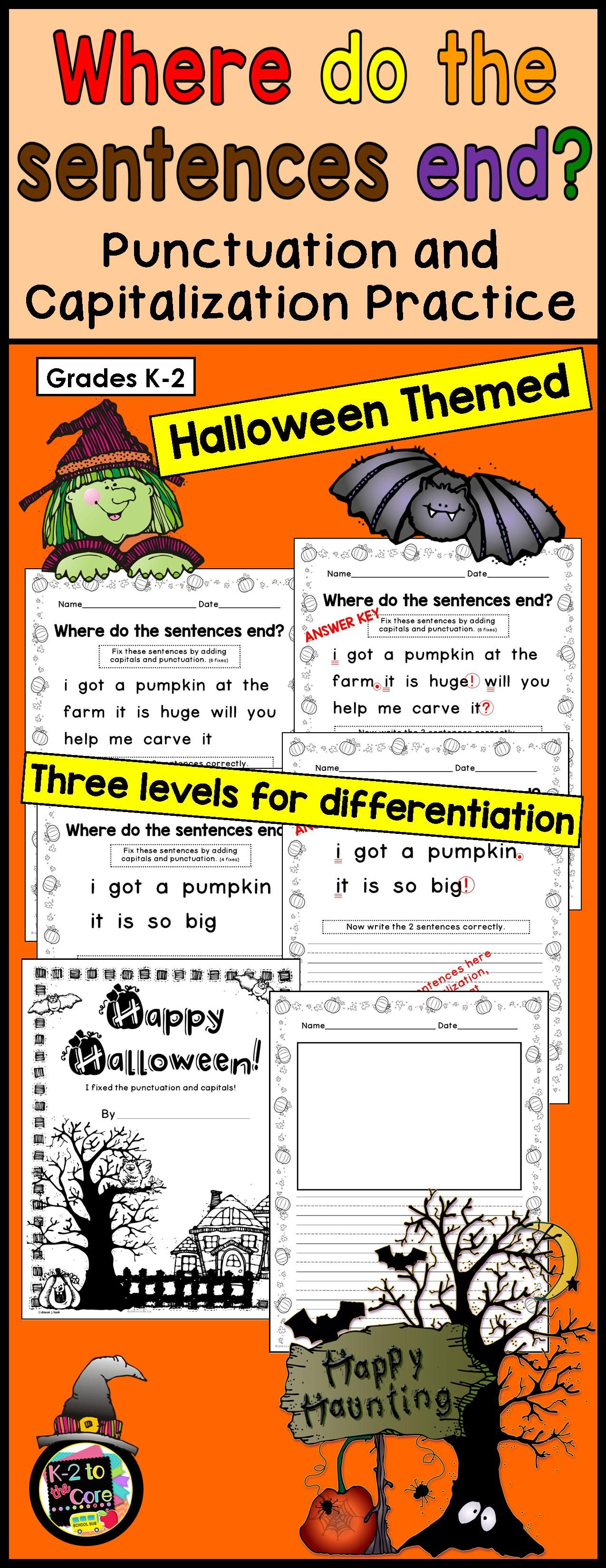 Provide Your Students With Capitalization And Punctuation Practice With These Differentiated