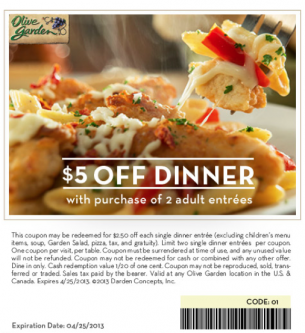 REPIN Olive Garden Coupons 5 Off Special. Delicious