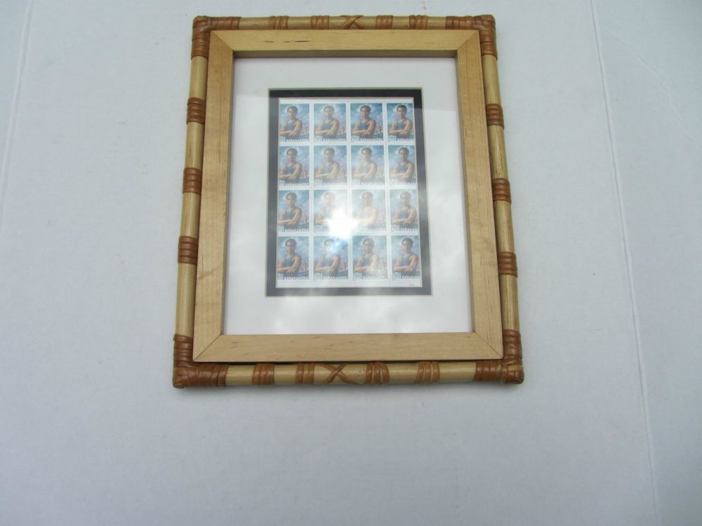 FAMOUS SURFER DUKE KAHANAMOKO STAMP SHEET IN A NICE WOODEN BAMBOO FRAME !    $19.95  + $8.95 shipping