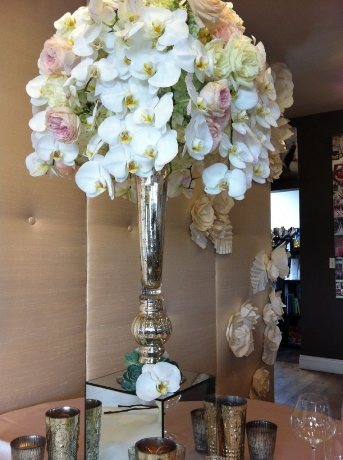 Love The Tall Mercury Glass Vase Wedding Florist Pinterest