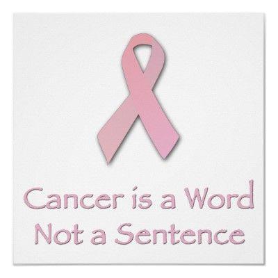 """""""Cancer is a word, not a sentence"""" - John Diamond"""