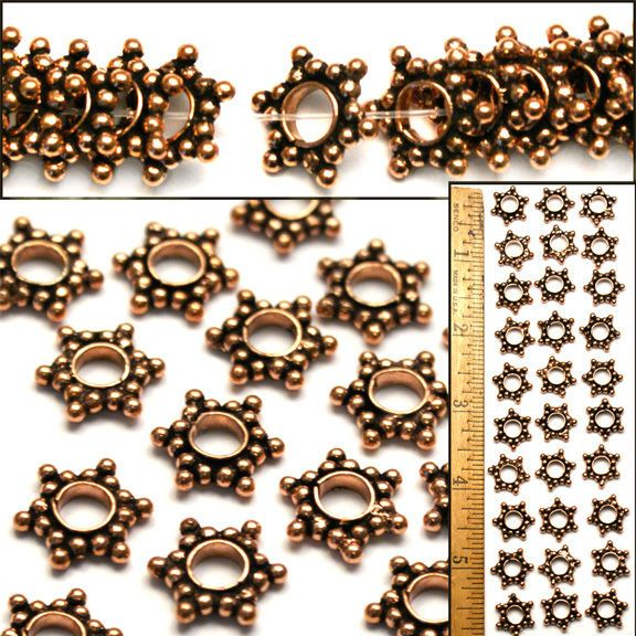 XL 14mm Bali Style 100% SOLID COPPER Flat Rondelle LG HOLE STAR Spacer Beads 30  #Spacer