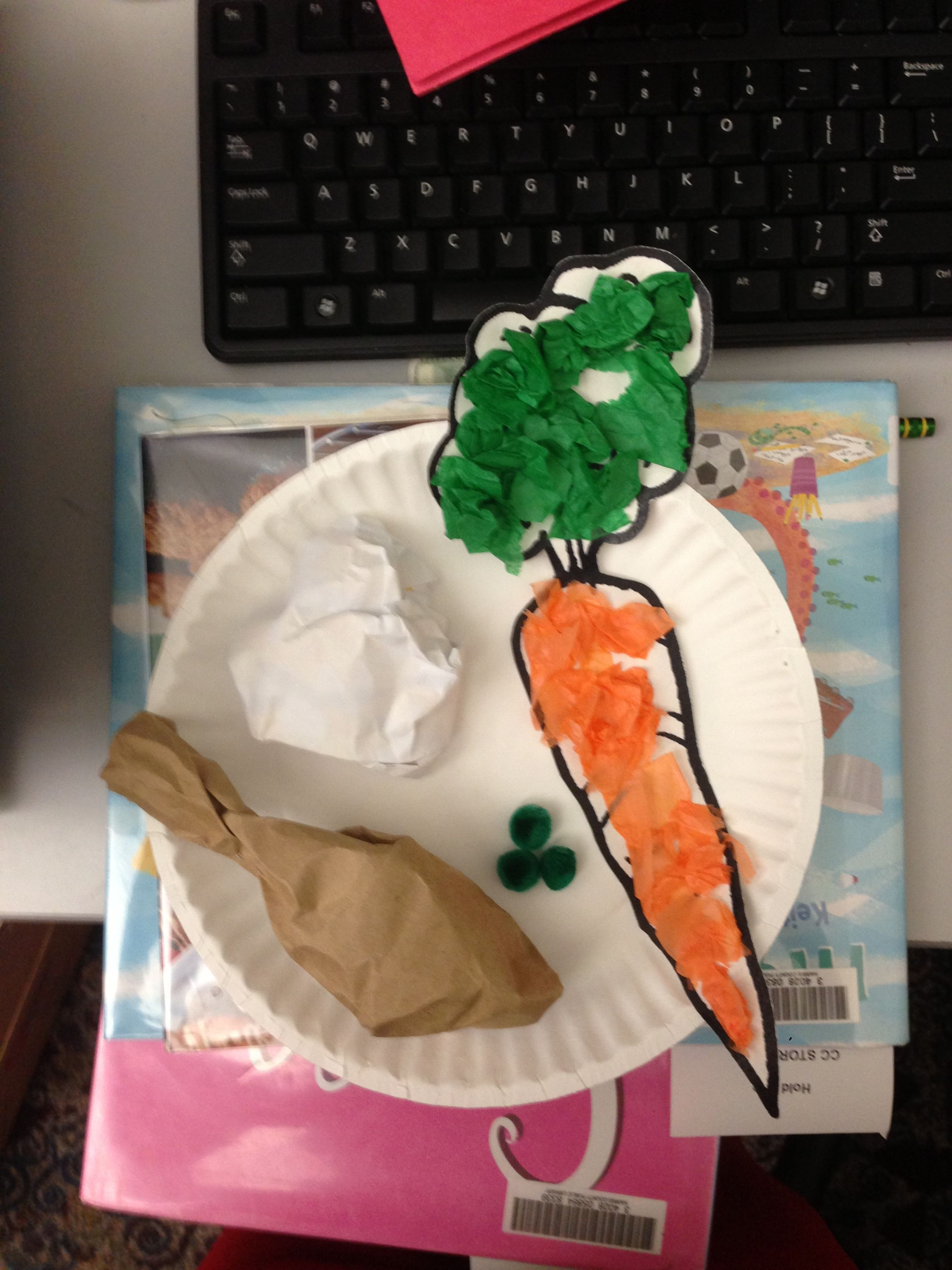 Eat Healthy Craft Carrot With Tissue Paper Pom Pom Peas