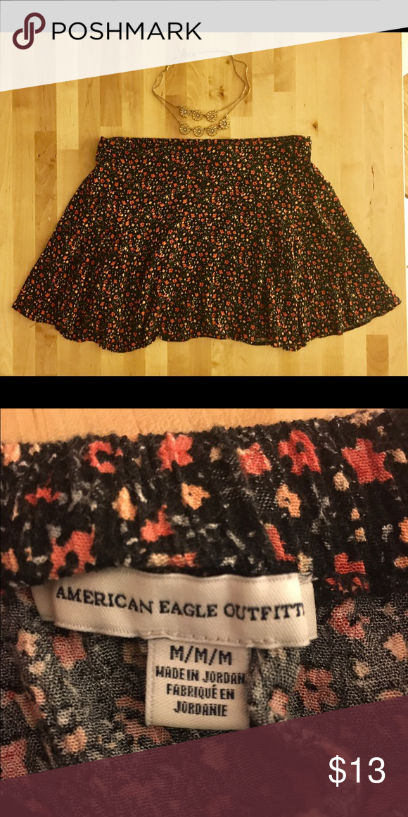 American eagle floral skater skirt This skirt has only been worn once. The fabric is soft and flowy. The waistband lays flat on the front and is elastic on the back. American Eagle Outfitters Skirts Circle & Skater