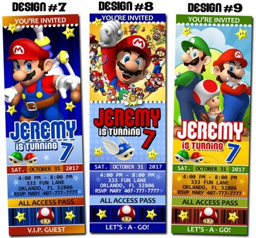 Super Mario Bros Birthday Party Ticket Invitations Printable – Party Ticket Invitations
