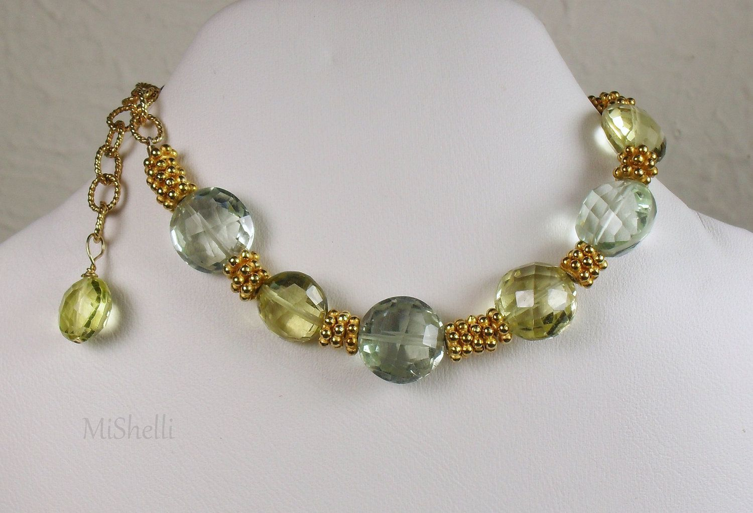 Checkout this amazing deal Green and Lemon Quartz Vermeil Bracelet,$89