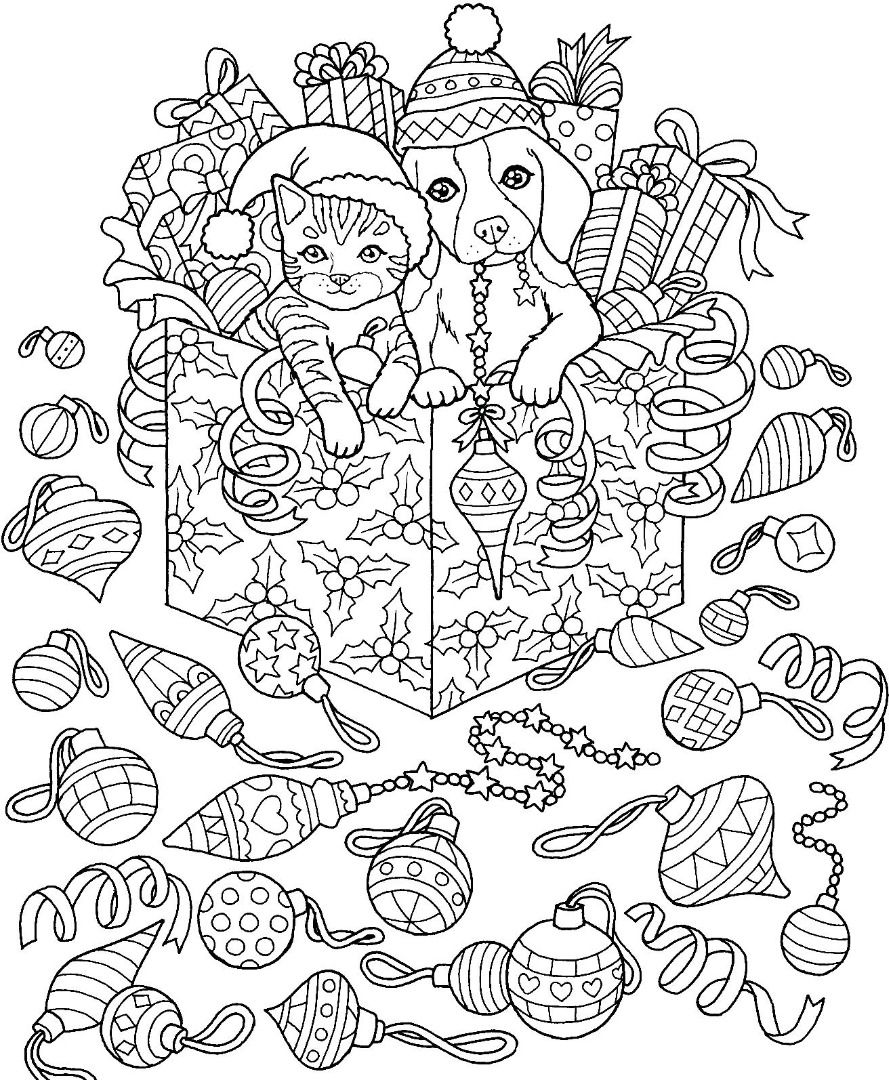 Christmas Dog With Cat Coloring Page Stock Vector - Illustration ... | 1080x889