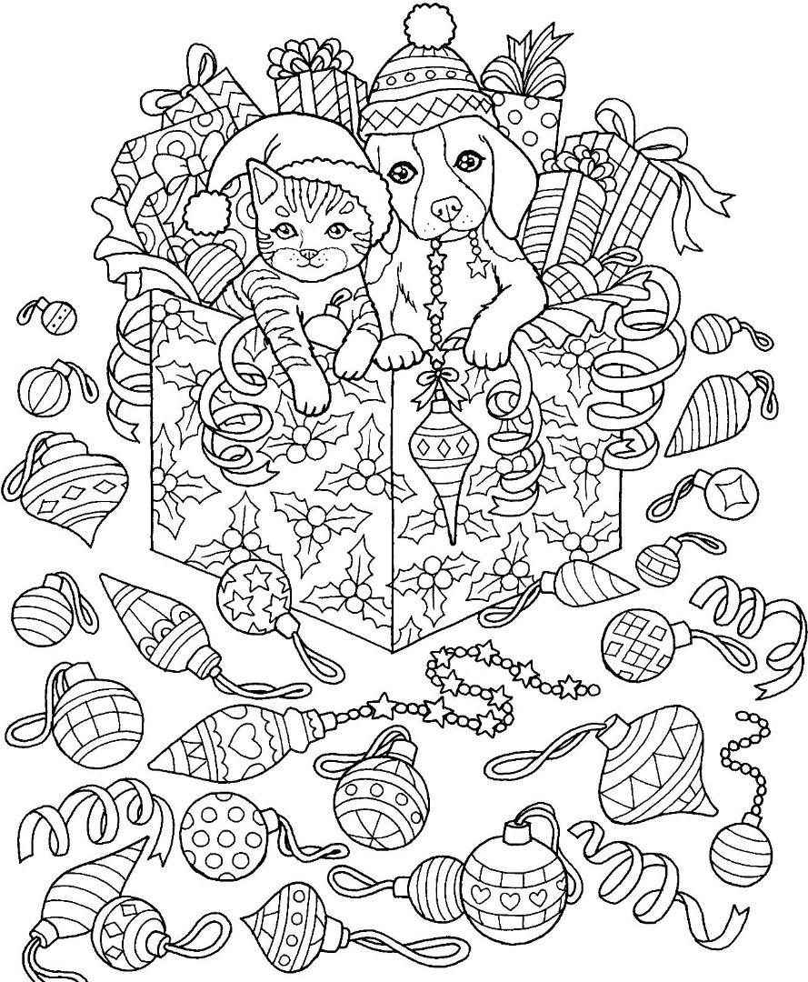 Christmas Cat Dog Coloring Page Christmas Coloring Books Coloring Books Christmas Coloring Sheets