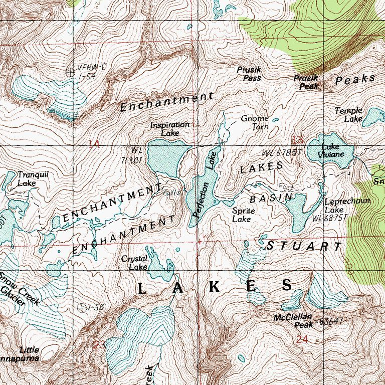 topographic map of the Enchantment Basin | The Enchantments ...