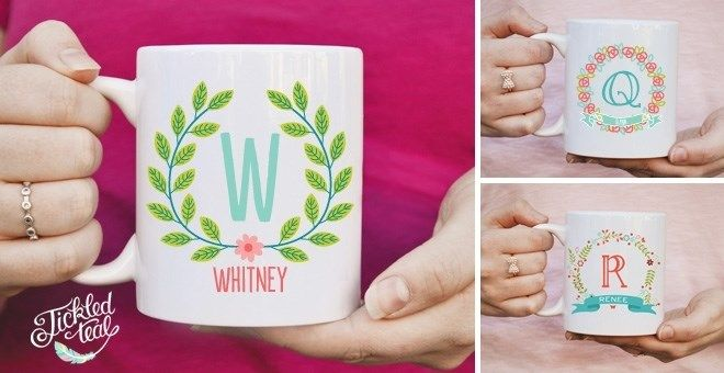 Custom Floral Name Mugs -- these are darling! 8.99
