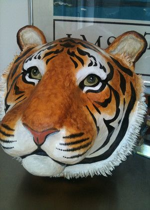 Paper Mache Tiger Head Google Search Paper Mache Paper Mache