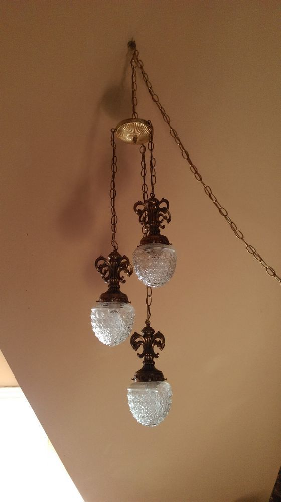 Vintage SWAG Hanging LAMP Gothic Ornate Ceiling VICTORIAN Brass