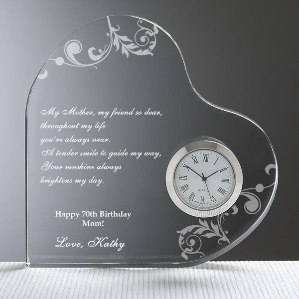 Personalized Mom Heart Clock With Poem