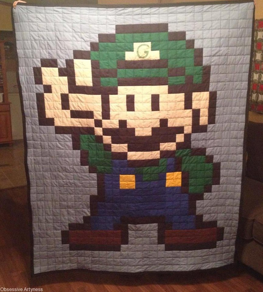 Luigi Quilt # quilting #pixelatedquilting #quilt #Nintendo