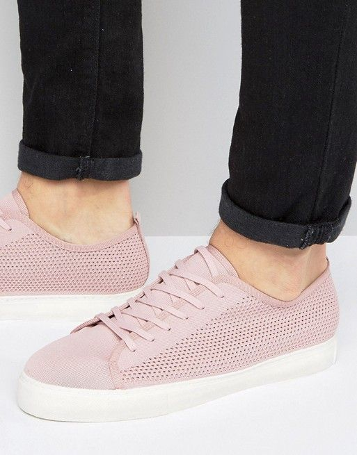 765330cd5b ASOS Lace Up Sneakers In Pink Mesh | asos men | Latest fashion ...