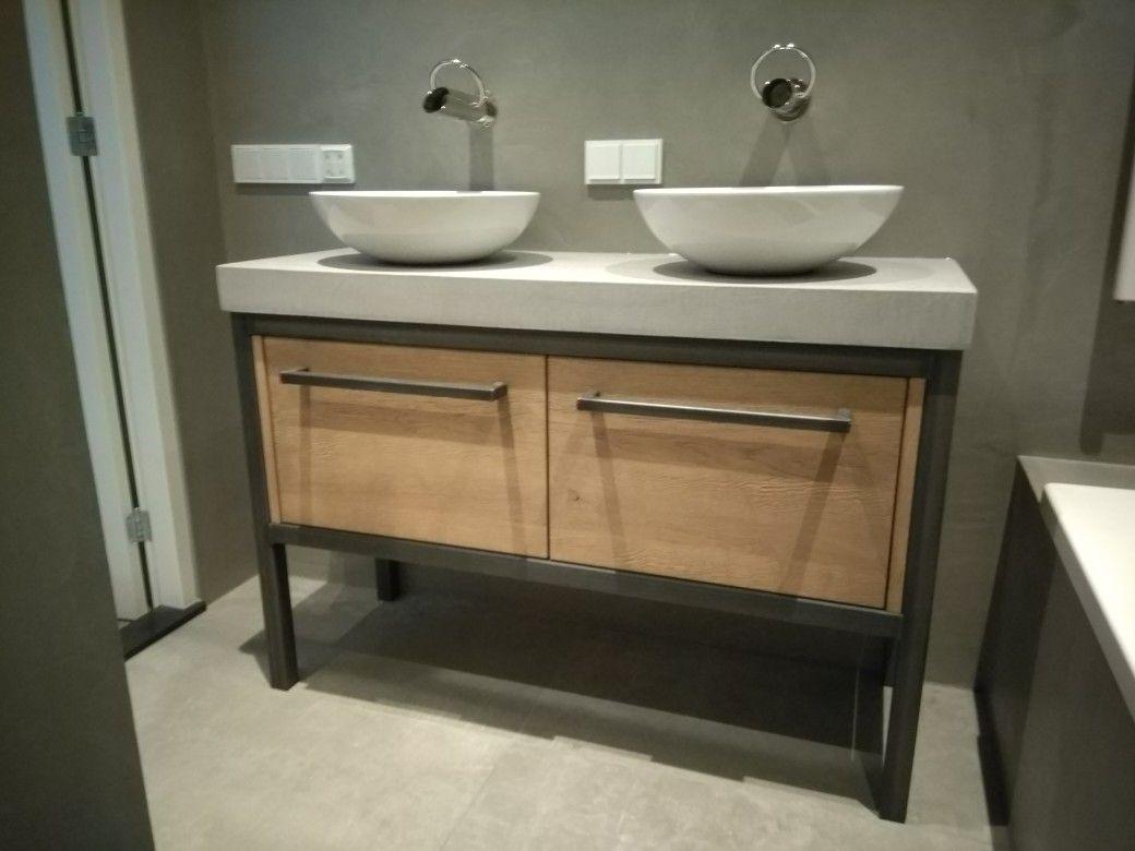 Badkamermeubel hout en staal: badkamer meubel hout unique