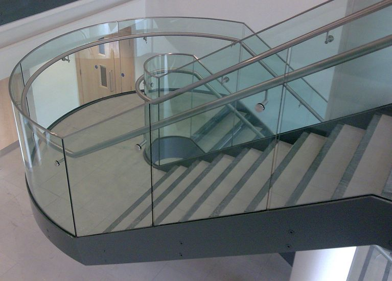 Best Feature Stair With Curved Glass Balustrade And Stainless 640 x 480