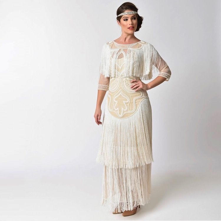 Fringe Flapper Wedding Dress 1920s Style Wedding Gown Deco Wedding Dress 1920s Wedding Dress Art Deco Wedding Dress