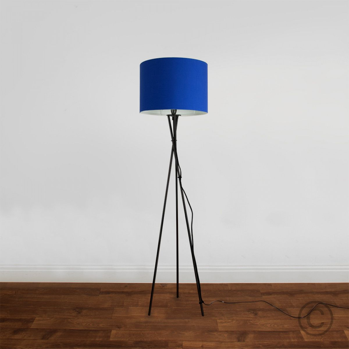 Blue floor lamp  Camden Tripod Floor Lamp in Black Blue Fabric Shade  Iconic Lights