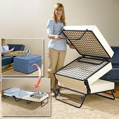 Converting Sofa Ottoman Guest Bed Frame Space Saving Furniture Fold Out Beds Ottoman Bed
