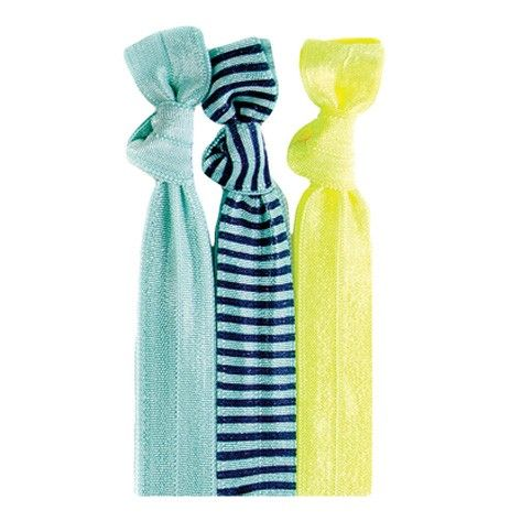 Julianna™ Hair Tie Set 3 HAIR TIES: Solid Mint | Navy Stripe on Mint | Solid Safety Yellow #twistband