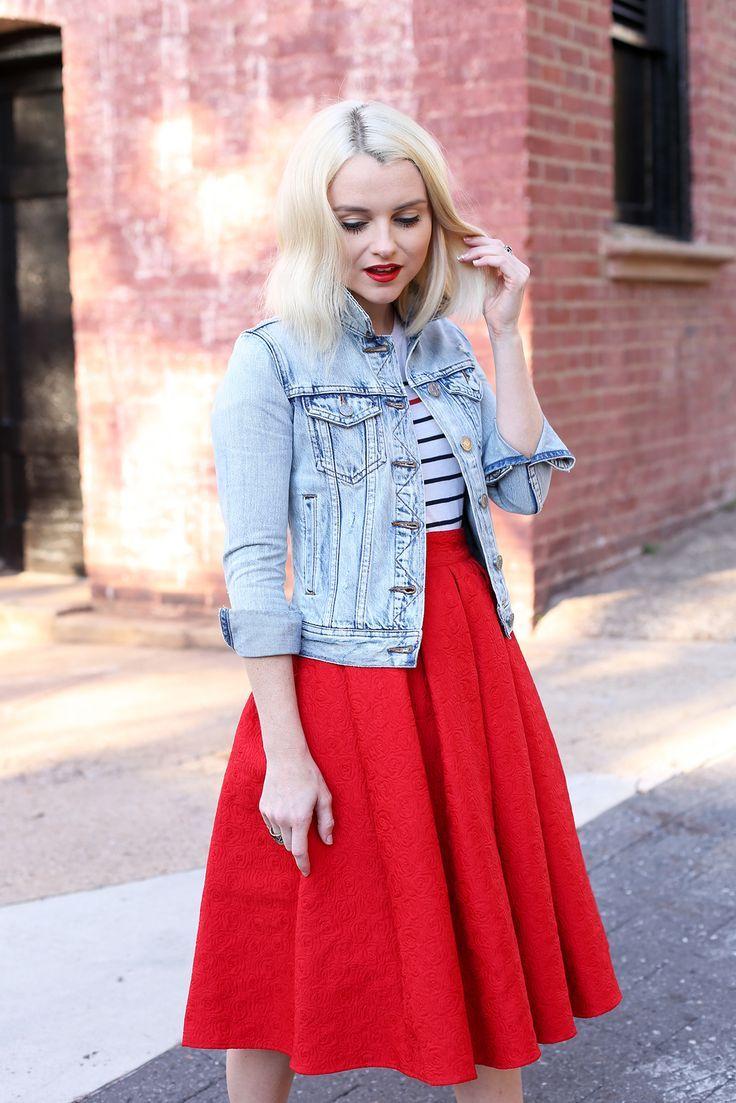89566259f556 Poor Little It Girl Red Dress and Denim Jacket poorlilitgirl