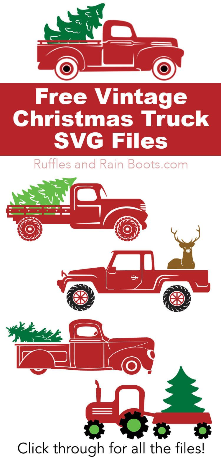Free Christmas Truck SVG Files Christmas red truck