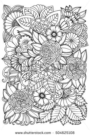 therapeutic coloring pages Black and white flower pattern for coloring. Doodle floral drawing  therapeutic coloring pages