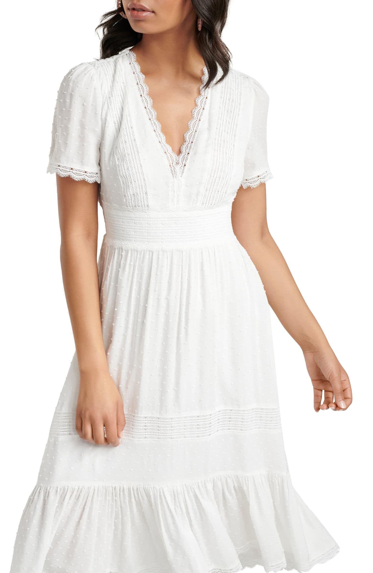 Margot Lace Trim Swiss Dot Midi Dress Dresses Midi Dress Swiss Dot Dress [ 2392 x 1560 Pixel ]