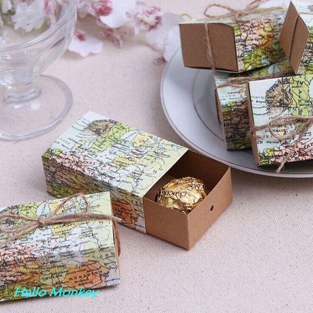 50pcs New Style World Map Wedding Party Favors Candy Gift Boxes Sweet Box