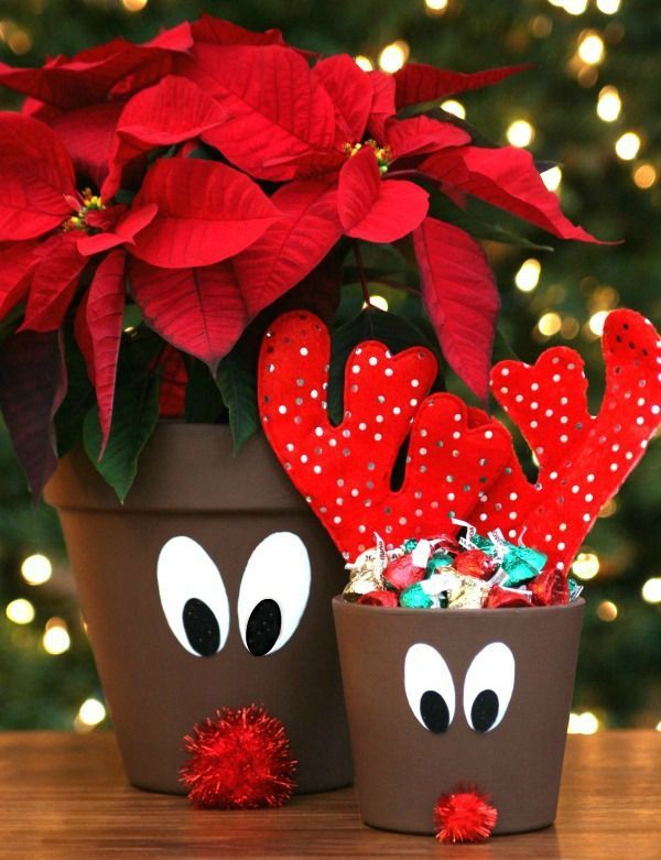 Christmas Flower Pots.Reindeer Flower Pots Christmas Christmas Clay Flower