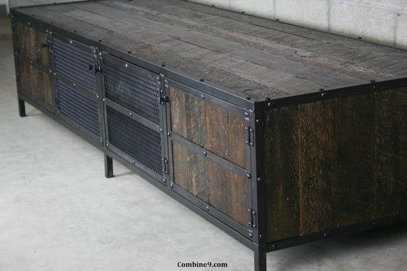 Tv möbel industrial design  Reclaimed wood TV Stand, reclaimed media Console. Reclaimed Wood ...