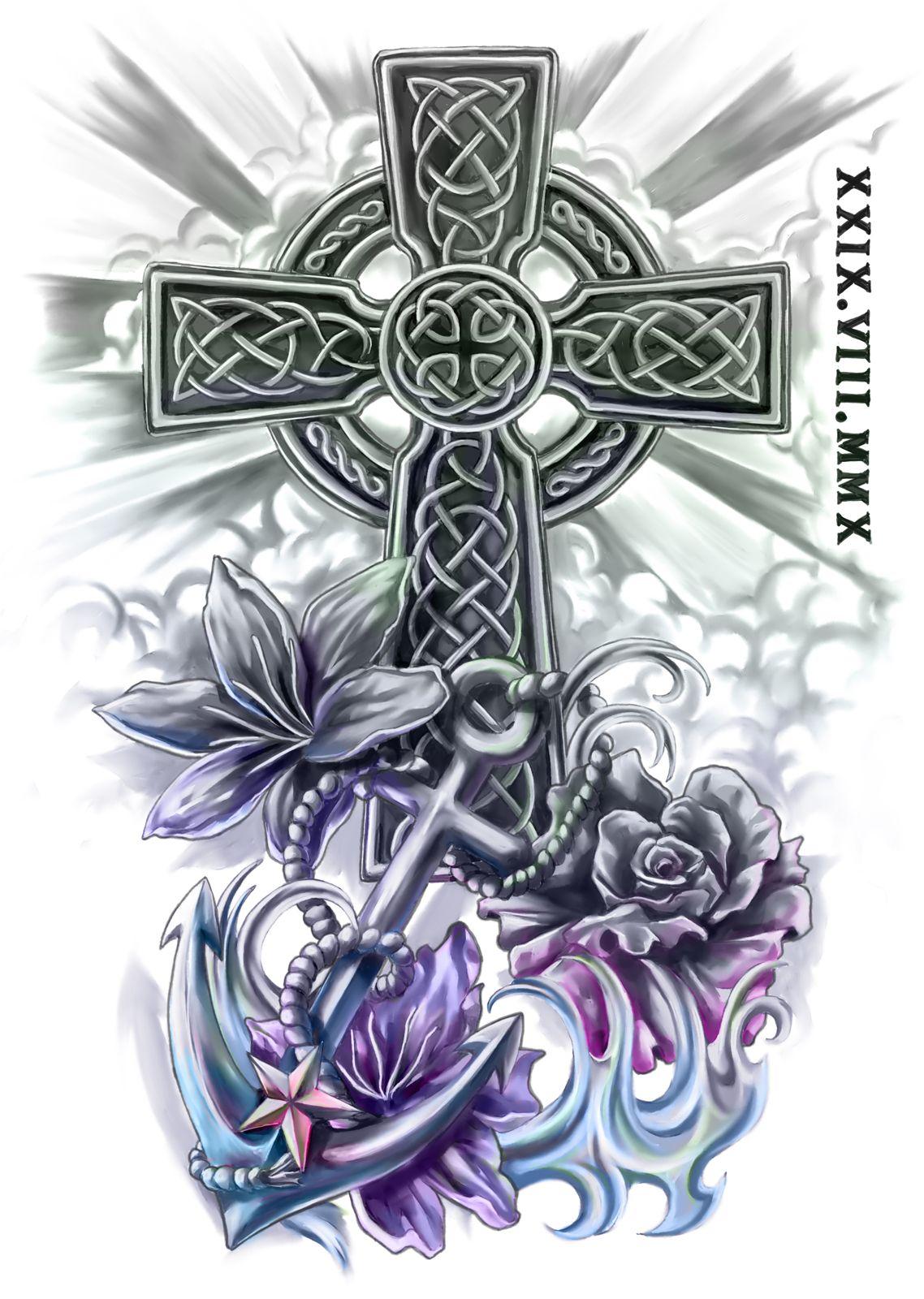 Celtic cross and anchor half sleeve design cris luspo tattoo