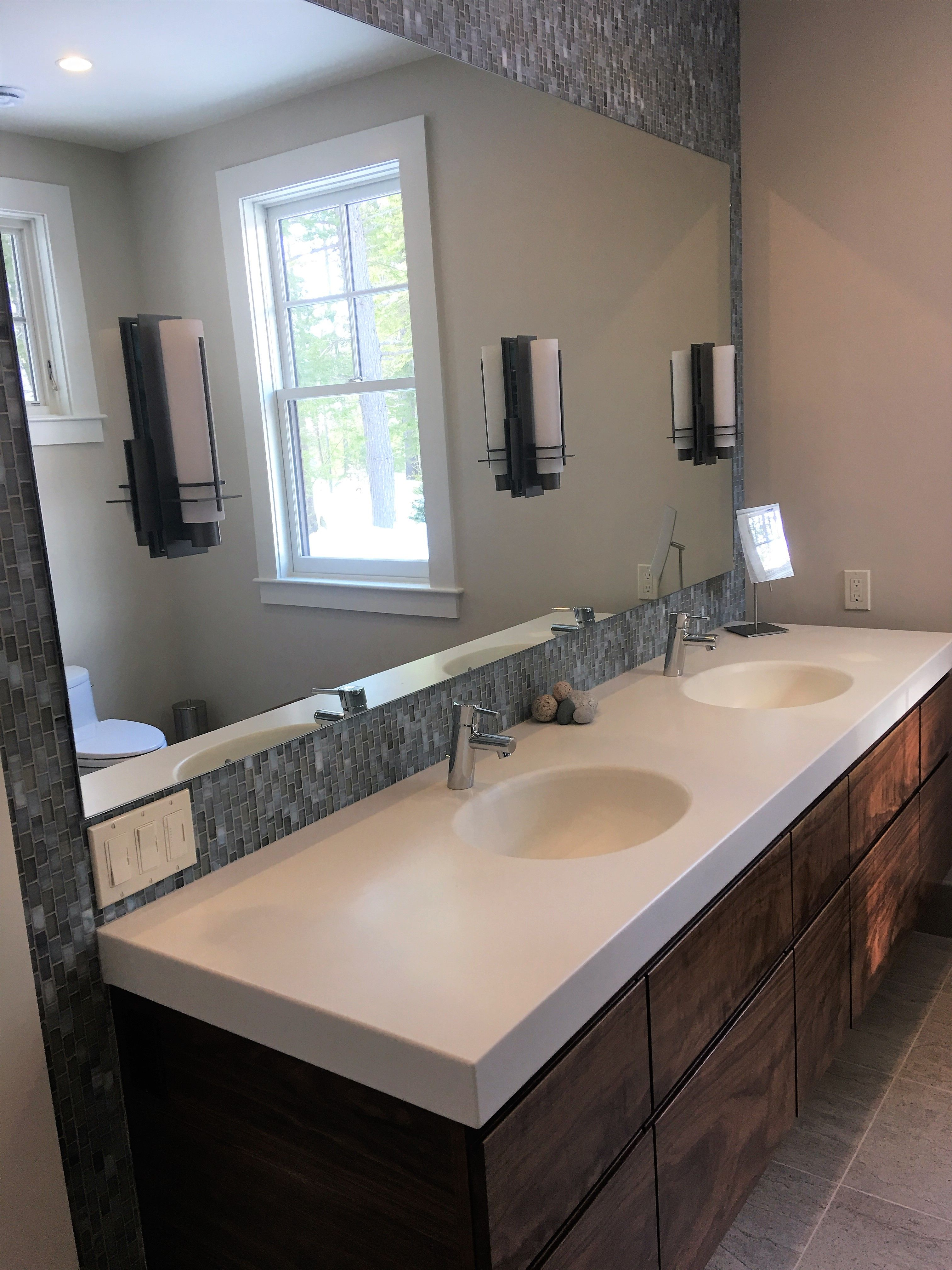 Floating Double Vanity With Corian Top With Images Bathroom