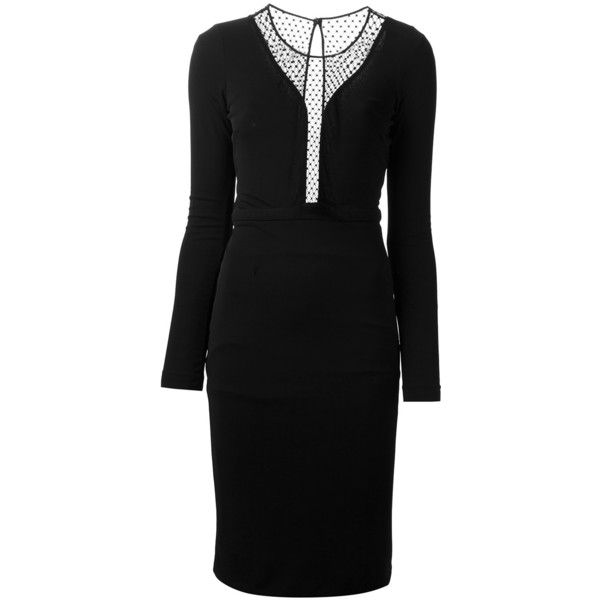 GUCCI lace panelled dress ($1,110) ❤ liked on Polyvore featuring dresses, key hole dress, crew neck dress, straight dress, lace inset dress and long sleeve mid length dress