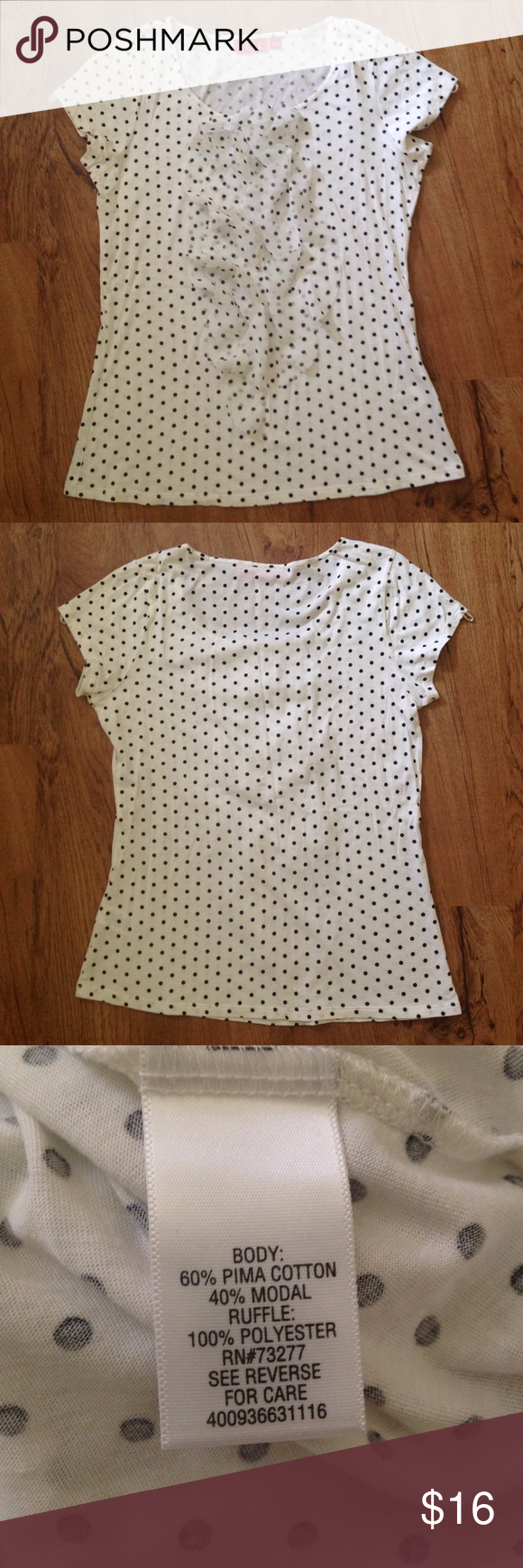 Elle Polka Dot Top Very soft and lightweight white top with sheer ruffle details; its not cream or bright white. Never worn; excellent condition! Elle Tops Blouses