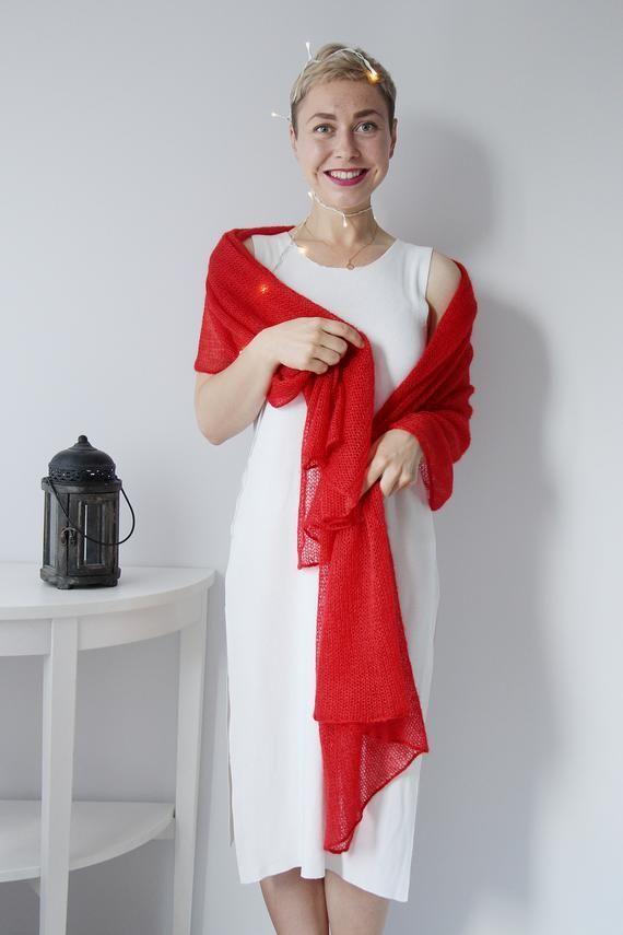 Photo of Red Christmas Strickschal, Schal Frauen, gestrickter Schal, Mohair mit Seide, Wollschal, gestrickter S …