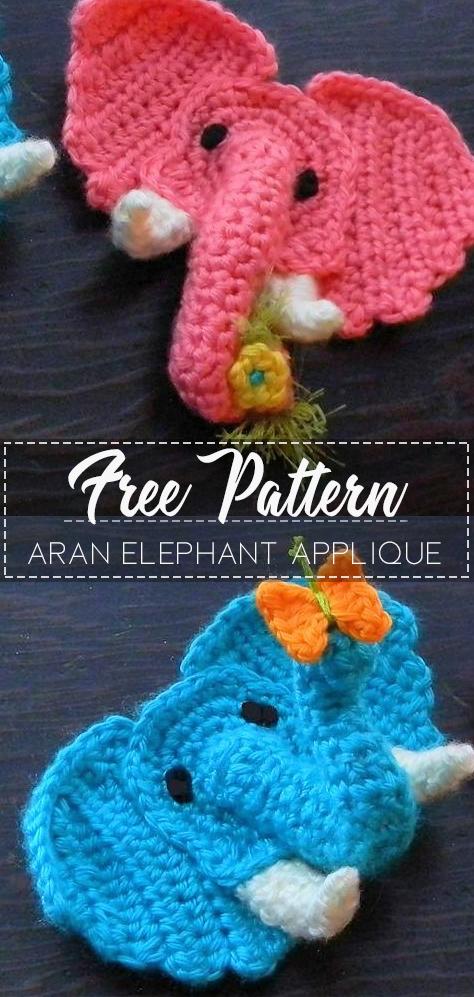 Aran Elephant Applique – Pattern Free – Easy Crochet #crochetapplique