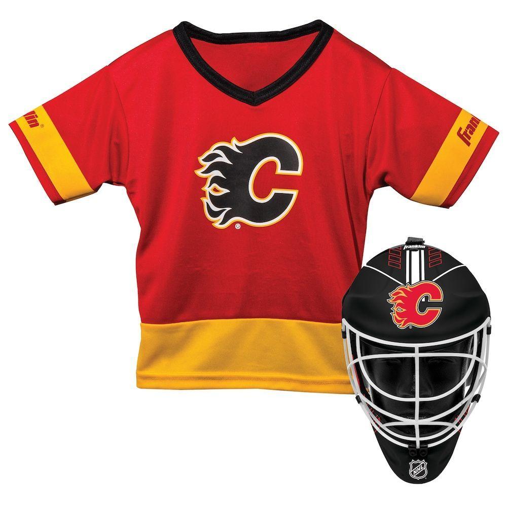 online retailer 7a79e 4a4fd Youth Franklin Calgary Flames Goalie Face Mask & Jersey Set ...
